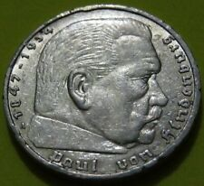 1936-A GERMANY 5 Mark Silver Coin XF Cond. Hindenburg Issue. COMBINED SHIPPING!