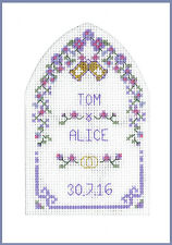 Cross stitch Wedding Greetings card with arch - complete kit on 16 aida in mauve
