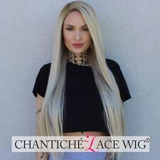 Dark Roots Ombre Blonde Wig Long Straight Light Blonde Synthetic Lace Front Wigs