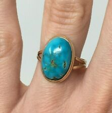 Oval 5 ct Blue Turquoise Cabochon in 14k Rose Gold Ring