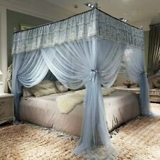 Jqwupup Elegant Bed Curtains Canopy, Embroidery Ruffle 4 Corner Post Mosquito Ne