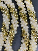 Women's Vintage Gold White  Round woven imitation pearl beaded Necklace 26""