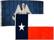 3x5 3'x5' Wholesale Combo Set State Louisiana & Texas 2 Flags Flag