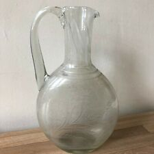 Antique Early Anglo-Irish or American Etched Glass Jug