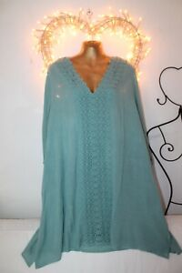 NEW FLOWING GREEN  LACE TRIM  KAFTAN SUMMER TUNIC TOP 22 24 + HOLIDAY DRESS £34