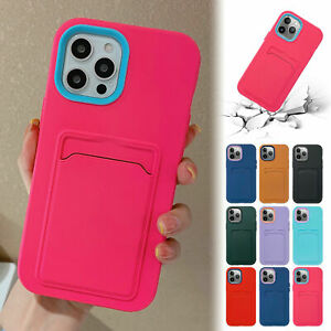 For iPhone 11 12 Pro Max XS X XR 8 7 Silicone Slim Wallet Case Card Holder Cover