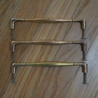 3 Mid Century Modern Drawer Pulls Brass Plated Metal Dresser Handles VTG 6 Inch