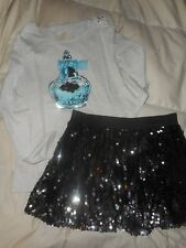 Girls Justice Gray/Teal/Black Happy Perfume Sequin Skirt Outfit Size 18