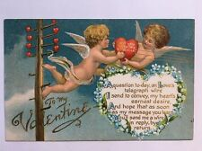 Antique Postcard To My Valentine Angel Cherubs Holding Heart Up Telephone Lines
