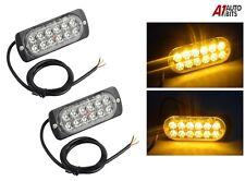 2x 12 Led Mount Amber Strobe Flashing Lights Recovery Lightbar Beacon Truck Car