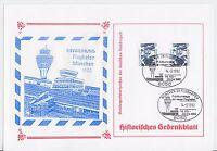 Gedenkblatt zur Einweihung des Flughafen München 1992 mit Sonderstempel !!