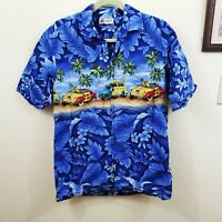 Aloha Republic mens Blue Hawaiian Aloha Shirt Floral Surfing Cars Sz Medium M
