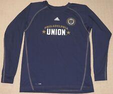 MLS Soccer Philadelphia Union Adidas Climalite Long Sleeve LS Shirt Large Blue