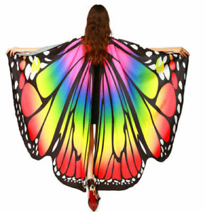 Womens Butterfly Wings Cape Adult Fairy Pixie Cloak Fancy Dress Costume