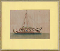 Framed Late 19th Century Gouache - Chinese River Boat