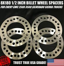 8x180 Chevy GMC 2500 3500 Silverado Sierra 8 Lug Wheel Spacers 1/2 Inch 12mm