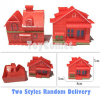 2 pcs Red Villa House Building Models Plastic Toy Soldier Army Men Accessories