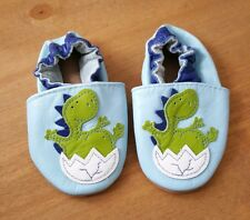 Baby Blue Soft Leather Moccasins Boys Dinosaur Pre Walker Easter Shoes 0-6mths