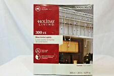 300 Count  Blue Christmas  Icicle  Lights on White Wire  Holiday Living  NIB