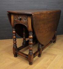Antique Victorian Carved Oak Drop Leaf Gateleg Farmhouse Dining Kitchen Table