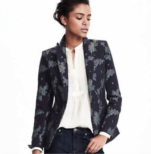 Banana Republic Heritage Collection Womens Wool Blazer Size 4 Petite Floral Blue