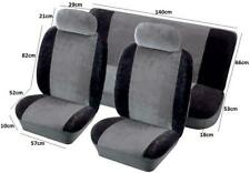 FULL SET OF BLACK AIRBAG CLOTH FABRIC CAR SEAT COVER PROTECTOR + HEAD REST