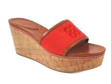 Coach Women's Jaci Open Toe Slides Geranium Red Low Heel Size 9.5 M