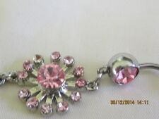 Pink Crystal flower Belly Decoration -