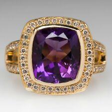 Natural GTL Certified Amethyst 14 K Gold Plated Engagement Gemstone Ring