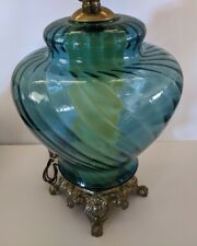 Mid Century Blue Ribbed Glass Lamp EF & EF Industries