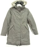 North Face Womens Gray HyVent Goose Down Insulated Hooded Jacket Parka Coat S