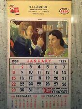1939 ESSO Calendar  Cape Charles Va.  Studebaker Sales and Service 1939 Calendar