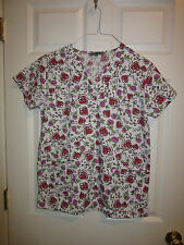Wear For Care Women's Scrub XS Tops  Valentines Day Hearts Roses Tattoo