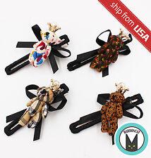 Lot 4 Korean Teddy Bear Plush Crown Pearl Bow Tie Hair Clip Hairpin Cute Kawaii
