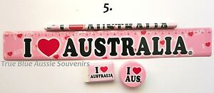1x Australian Souvenir Ruler Pencil Eraser Sharpener - Pink 'I Love Australia'