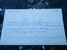 #MISC-3378 - 3x5 index card - signed auto - HOCKEY - GENE VBRIACO
