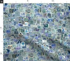 New listing Stamp Collection Postage Stamp Blue International Spoonflower Fabric by the Yard