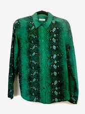 Equipment Femme Silk Long Sleeve Blouse Sz Small   Emerald Green Snake Print