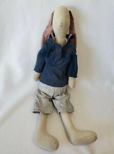 """Maileg 26"""" Maxi Tan Bunny Rabbit Plush Cloth Linen Sailor Outfit Stuffed Large"""