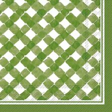 Boston International C016503 Roseanne Beck Cocktail Napkins, Green Gingham