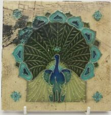 Rare Mintons China Works Peacock Relief Moulded Art Nouveau Tile C1905 Repaired