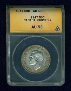 CANADA  GEORGE VI  1947 50 CENTS COIN, ANACS CERTIFIED ALMOST UNCIRCULATED-AU53
