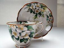 Royal Albert Tea Cup Saucer Set Orange Blossom Vintage Decor Gilded Ruffled Rims