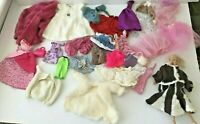 Large Lot of Vintage Barbie Doll Clothes Dresses Outfits  Accessories W/ Barbie