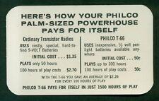 1960's Philco T-66 Palm-Sized Transistor Radio Free Batteries Dealer Promo Card