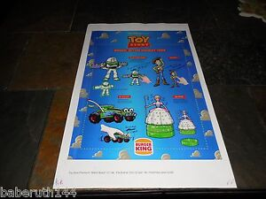 """1996 PROOF AD POSTER 17X11"""" WALT DISNEY TOY STORY BURGER KING HOLIDAY TOYS"""