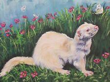 "Albino FERRET wildlife pet art canvas PRINT of LAShepard painting LSHEP 12x16"""