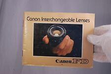 Canon Fd Intercambiable Lentes Folleto List (En) 7210017 60 Páginas