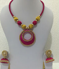 Bollywood fashion jewellery silky thready pink and gold necklace set and jhumki