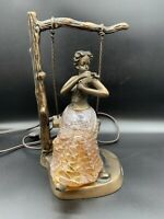 Brass And Blown Glass Art Deco Lamp - Woman Lady On Swing - Rare! Tiffany?